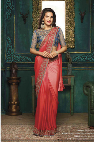 Karva Chauth Special Sarees Red Festive Sarees Georgette Embroidery Saree With Lace Border Work