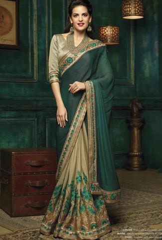 Festival Sarees Karwa Chauth Sarees Bottle Green With Olive Green Designer Sarees Floral Embroidery Lace Border Work