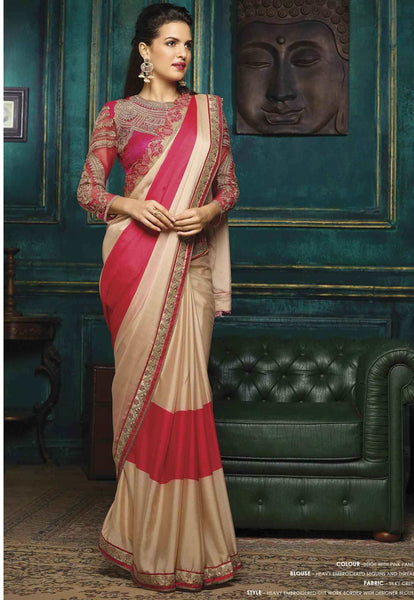 Beige & Pink Designer Festival Sarees Floral Embroidery With Lace Border Work Sarees For Women