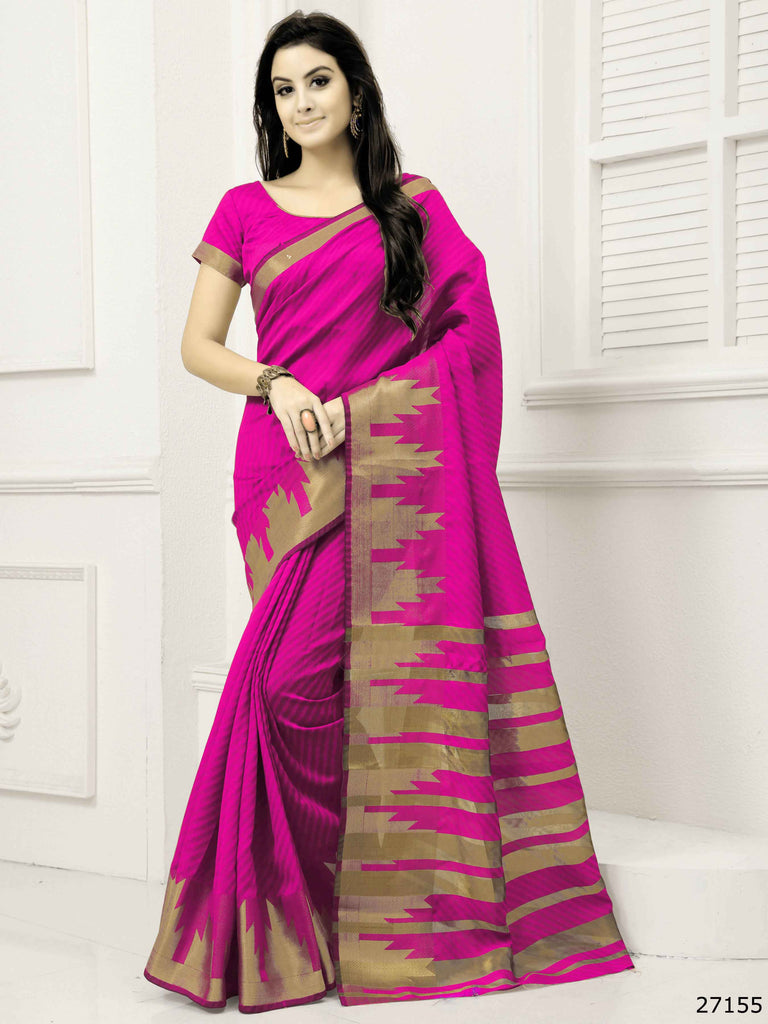 a03391abab9255 Shop Now Designer Magenta Lichi Silk Festival Sarees With Woven Work – Lady  India