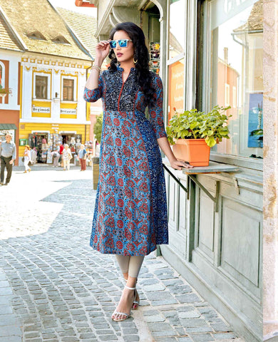 Online Multi Color Cotton Kurtis Ethnic Print Western Kurtis Casual Stitched Kurti