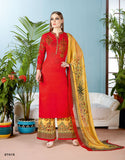 Cotton Kurta With Palazzo Floral Embroidery Partywear Palazzo Salwar Suit