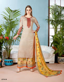 Beige Color Pure Cambric Cotton Long Kurti With Palazzo Round Neck Style Palazzo Suits