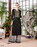 Trendy Black Kurta With Palazzo Embroidered & Print Work Palazzo Salwar Suit For Women