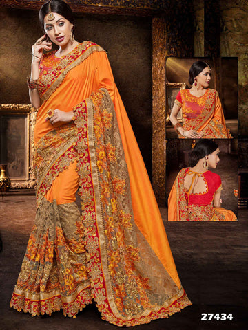 Orange & Red Silk And Jacquard Festival Sarees Floral Embroidery Silk Saree
