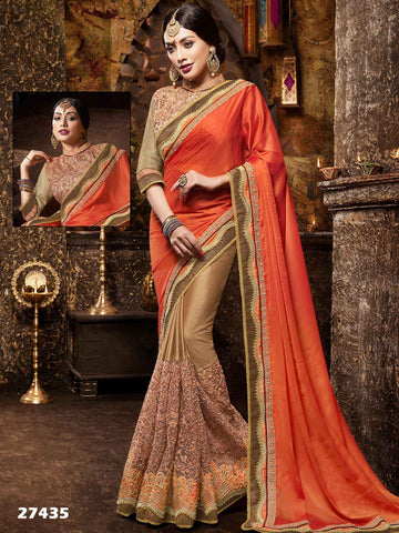 Satin And Net Traditional Saree Peach & Brown Embroidered Lace Border Festival Saree