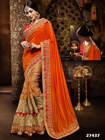 Festival Sarees Orange & Beige Georgette Traditional Sarees With Zari Embroidered Border
