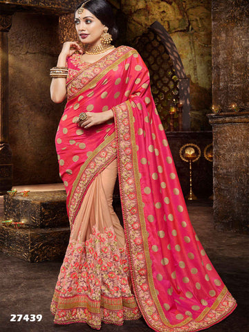 Diwali Special Pink & Beige Jacquard And Lycra Traditional Sarees For Women