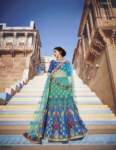 Latest Lehenga Choli Royal Art Silk Blue Color Embroidered Semi Stitched Bridal Lehenga Choli