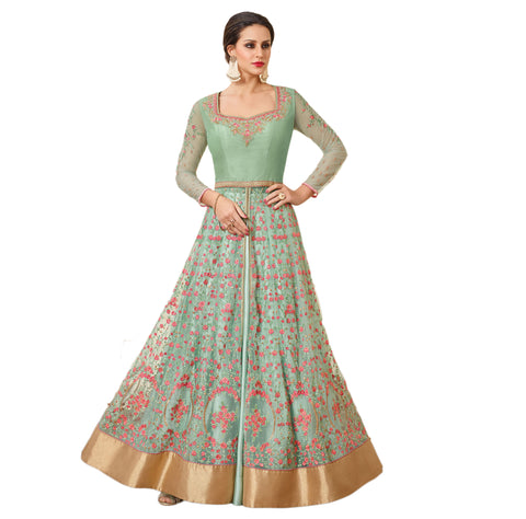 Trendy Mint Green Anarkali Suits Golden Border Thread & Zari Embroidery Salwar Suit