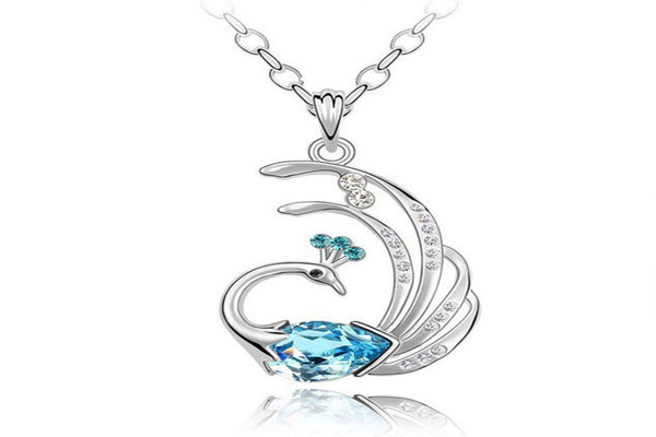 White Gold Plated Peacock Pendant Necklace Gift For Women