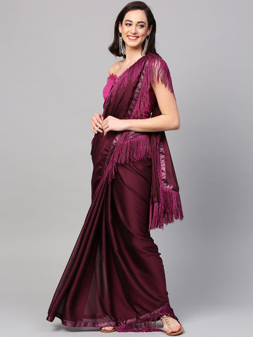 Purple Color Plain Saree Fring Design Saree