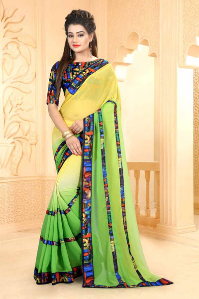 Urban-Naari-21627-Yellow-&-Green-Colored-60-gm-georgette-pedding-Printed-Saree