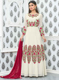 Holi Offer Mouni Roy Cream Faux Georgette Dress Material With Floral Embroidery Semi Stitched Anarkali Style Salwar Suit