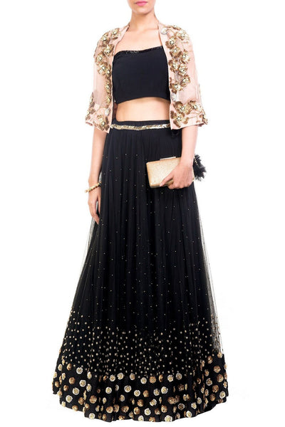 Exclusive Designer Lehenga Choli Black & Pink Cape Design Lehenga With Short Jacket/Koti