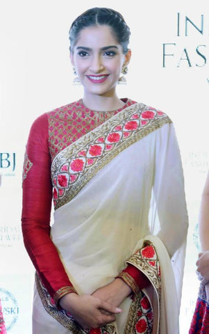 Sonam Kapoor's Designer Saris Red & White Border Resham Work Saree