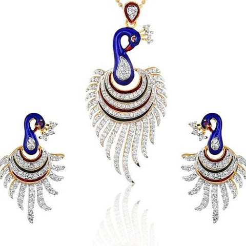 Designer Peacock Pendant Set / Necklace Set With Chain And Earrings For Women