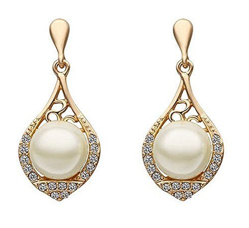 Designer Silver Shoppee Yellow 18k Yellow Gold Plated Cubic Zirconia And Pearl Studded Alloy Dangle & Drop Earrings For Women