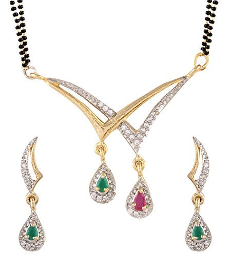 Designer American Diamond Gold Plated Mangalsutra Pendant With Chain And Earrings For Women