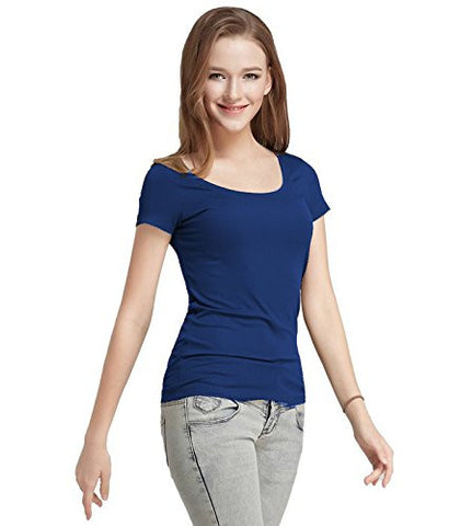 Navy Blue Color Cotton Casual T-Shirt For Girls Ladyindia29