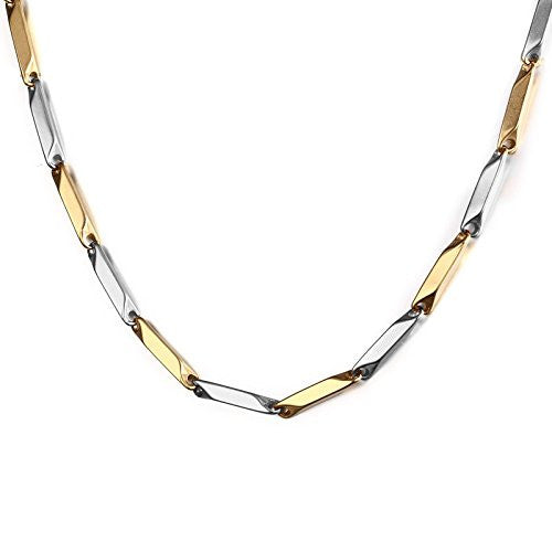 Silver Gold Two Tone Italian Stainless Steel Chain Necklace