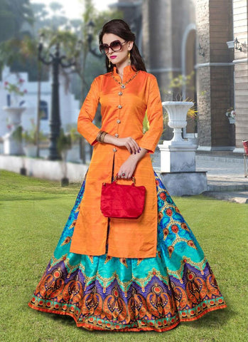 Designer Orange Color Long Kurtas With Skirts Banarasi Silk Digital Print Stitched Kurti And Skirt