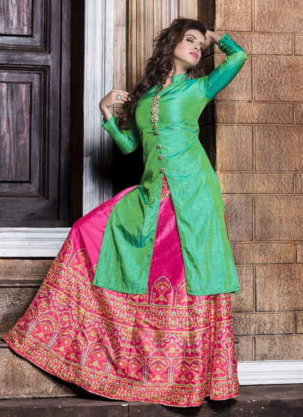 Designer Kurtis Kurtas Green Color Long Kurtas With Skirts Banarasi Silk Digital Printed Stitched Kurti