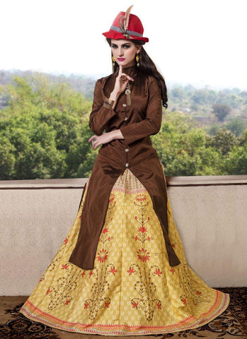 Latest Brown Color Long Kurtas With Skirts Designer Stitched Kurtis With Digital Print