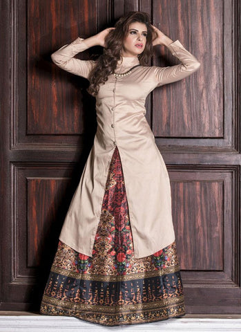Designer Cream Kurtis Kurtas Long Kurtas With Skirts Banarasi Silk Digital Print Kurti