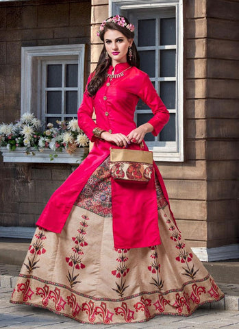 Designer Pink Color Long Kurtas With Skirts Banarasi Silk Digital Printed Stitched Kurti