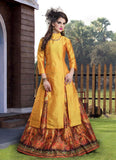 Yellow Color Long Kurtas With Skirts Banarasi Silk Digital Print Skirt Kurti Set For Girl