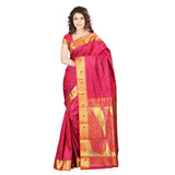 Designer Red Kanchipuram Art Silk Exclusive Leaf Party Wear Saree