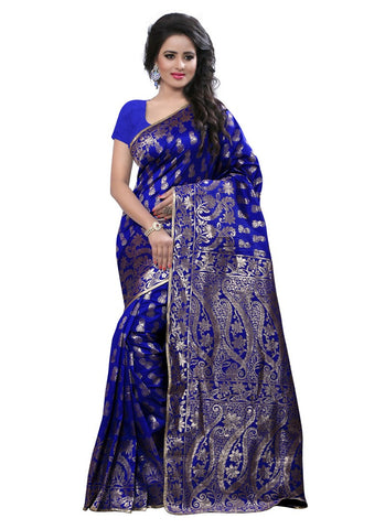 Latest Deaigner Blue Banarasi Art Silk Jacquard Partywear Saree With Blouse