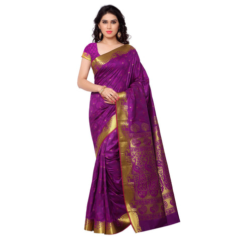Designer Traditional Purple Kanjivaram Printed Art Silk Saree