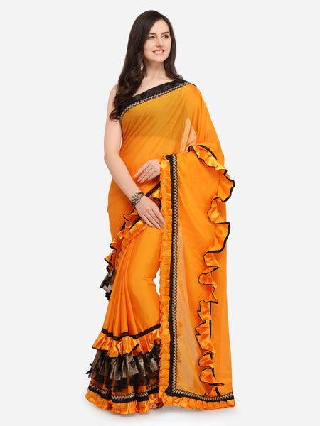 Yellow And Black Plain Designer Ruffle Saree