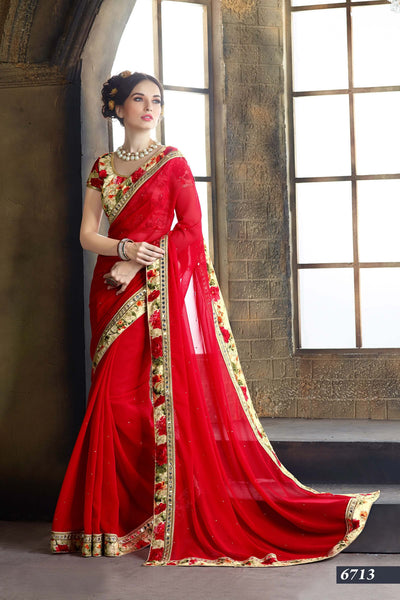 Latest-Designer-Printed-Red-Saree-For-Women-lady-052-Party-Wear-Saree
