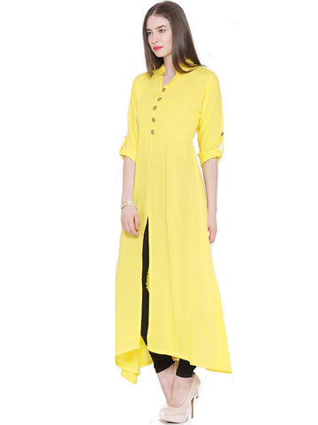 yellow-color-front-open-plain-rayon-long-kurti-with-golden-toggle-work-a066