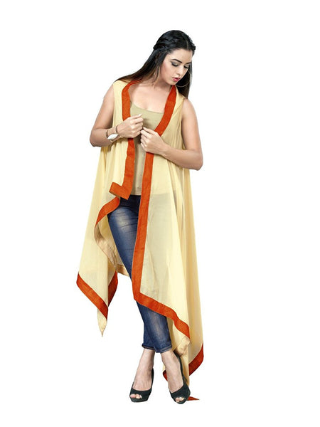 beige-georgette-shrug with-orange-color-lace-design-designer-cape