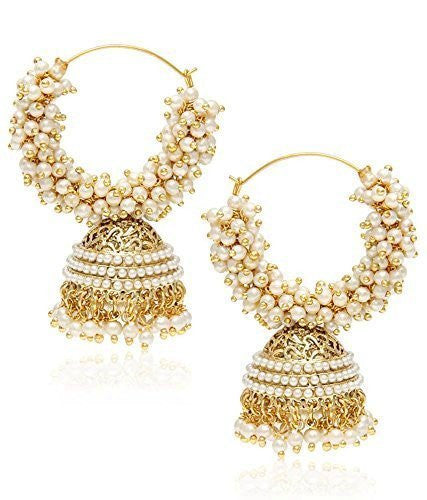 Royal Bling Gold Metal Jhumka Earrings For Women