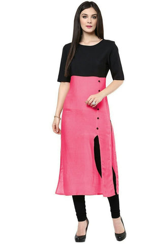 Casual Pink And Black Simple Cotton Kurtis And Kurtas Cotton Casual Kurti For Women