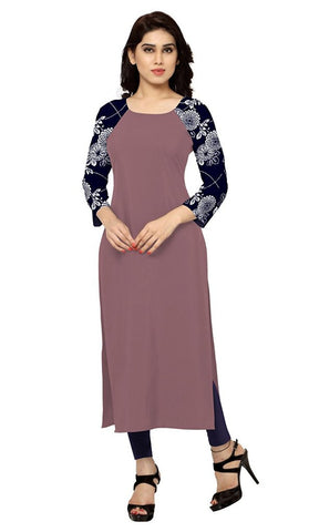 Straight Long Kurtis And kurtas Light Wine Colour Faux Crepe Digital Printed Kurtis