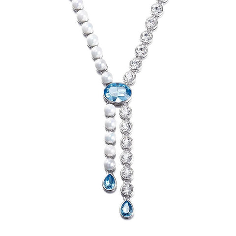 Pearl Rhodium Plated Matinee Charm Necklace Jewellery For Women & Girls