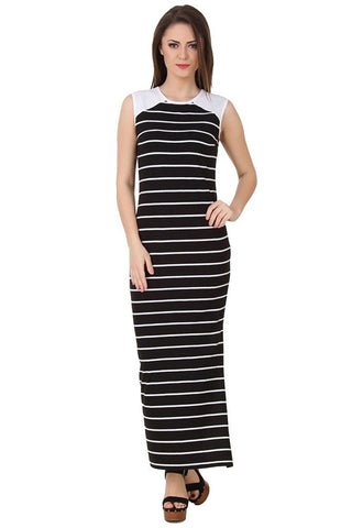 Designer Black & White Cotton Jersey Partywear Sleeveless Side Slit Stylish Maxi Dress For Women