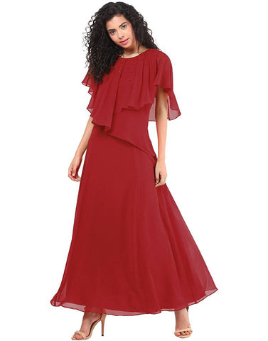 Latest Fancy Designer Red Cape Gown