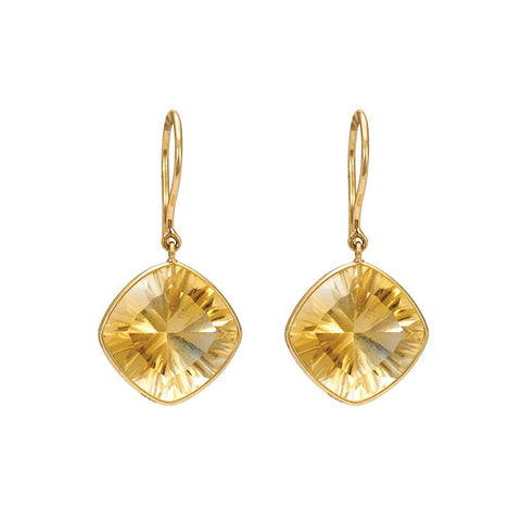 Gold And Citrine Hoop Earrings For Women