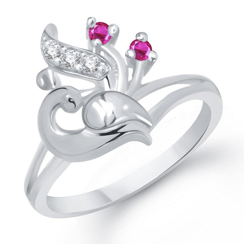 Latest Designer Beautiful Mayur Rhodium Plated Ring For Girls