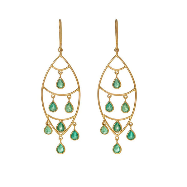 Gold And Emerald Pleated Tear Drop Earrings For Women