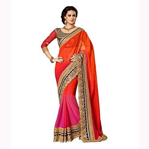 Red and Orange Designer saree - Designer Casual Sarees
