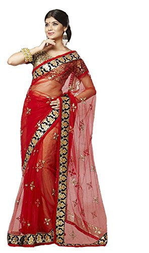 Party Designer Saree Net Red Applique Work Embroidered Patch Work Wedding Saree