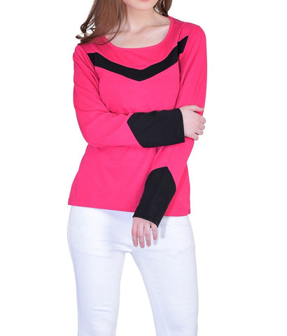 Cuff Black Dark Pink Full Sleeve Cotton Tee Ladyindia69